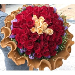 100 Rose Bouquet with 93 Red and 7 Champagne Color of Rose