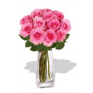 12 Maria Pink Rose Vase Bouquet